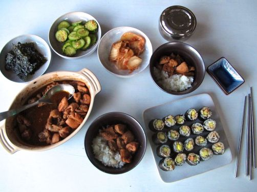 Kimchi Kimbap, Pickled Cucumber Banchan, and Korean Bulgogi Chicken