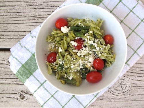 Pasta Genovese with Cherry Tomatoes and Feta Cheese
