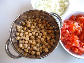 Chickpeas, tomatoes, and onions for Chana Masala