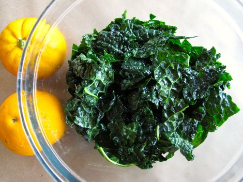 Kale leaves massaged with lime juice