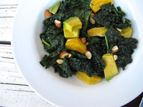 Citrusy Kale Avocado Salad with Oranges and Almonds