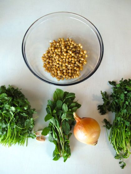 Chickpeas, cilantro, mint, and parsley for Falafel