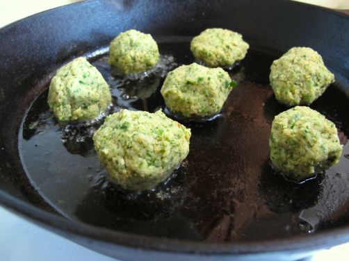 Pan-frying the falafel before baking