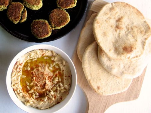 Homemade Pita Bread, Hummus, and Baked Falafel