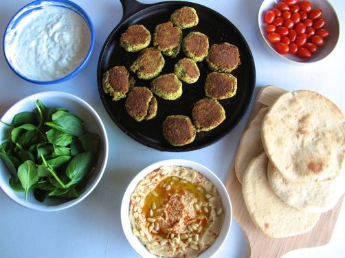 Homemade Pita Bread, Hummus, Baked Falafel, and Tzatziki