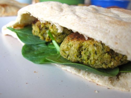 Homemade Pita Bread and Baked Falafel