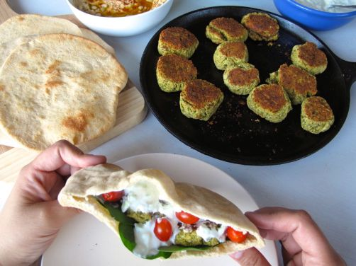 Homemade Pita Bread, Baked Falafel, and Tzatziki