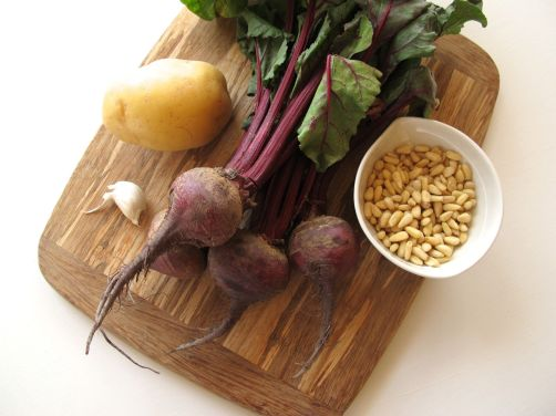 Ingredients for Beet Hummus with Potatoes, Pine Nuts, Garlic, and Lemon
