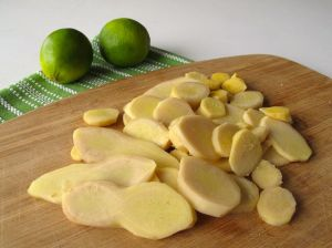Ginger and limes for homemade ginger ale