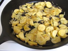 Potatoes, onions, and garlic for the Mediterranean Frittata