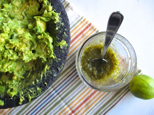 Making Roasted Tomatillo Guacamole
