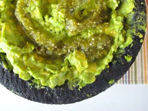 Guacamole with Roasted Tomatillo Salsa