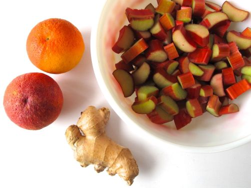 Ingredients for Rhubarb Blood Orange Ginger Jam