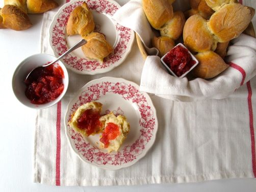 Epi Baguettes with Rhubarb Ginger Jam