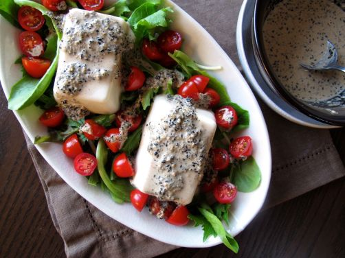 Japanese Tofu with Creamy Kurogoma (Black Sesame) Dressing