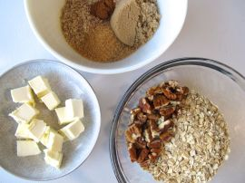 Ingredients for Berry Rhubarb Crisp (Gluten-Free)