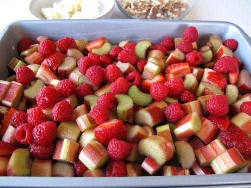 Rhubarb, raspberries, and strawberries for Berry Rhubarb Crisp