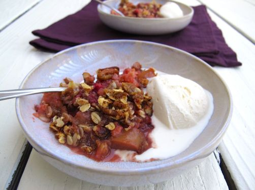 Berry Rhubarb Crisp with Vanilla Ice Cream