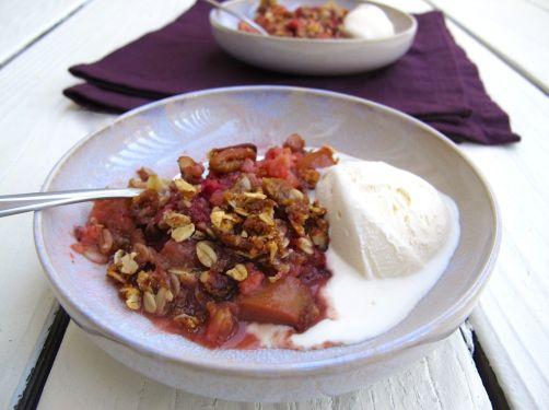 Berry Rhubarb Crisp with Vanilla Ice Cream