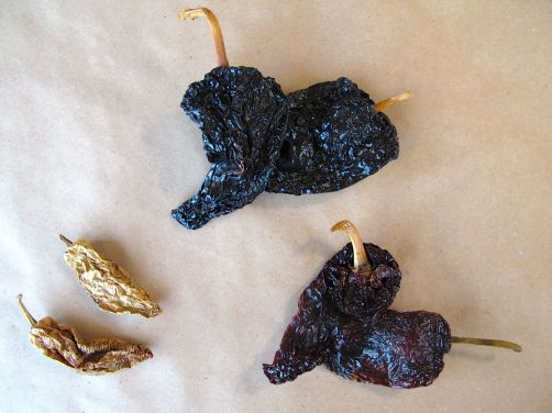 From left: dried chipotles, pasillas, and ancho chiles