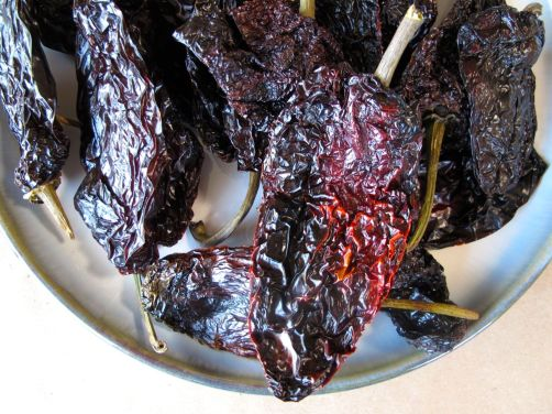 Dried ancho chiles for Mole Poblano