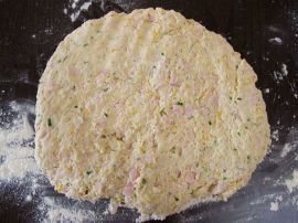 Making Peppered Turkey Scones with cheese and scallions