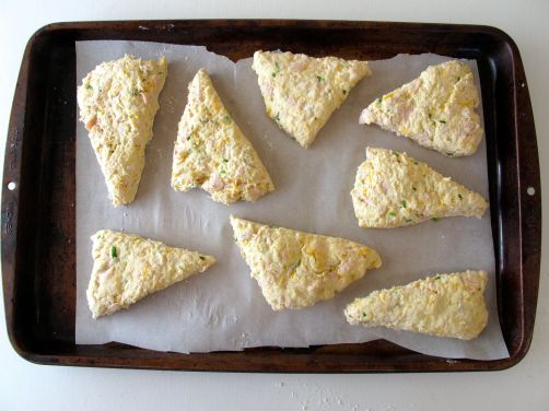 Peppered Turkey Scones with cheese and scallions