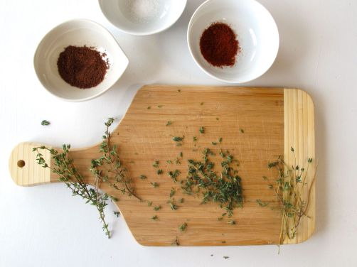 paprika and za'atar: thyme, sumac, sesame, and salt