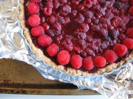 Making Raspberry Chocolate Tart with Coconut Crust