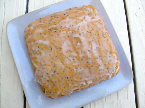 Glazed Black Sesame Mochi Cake