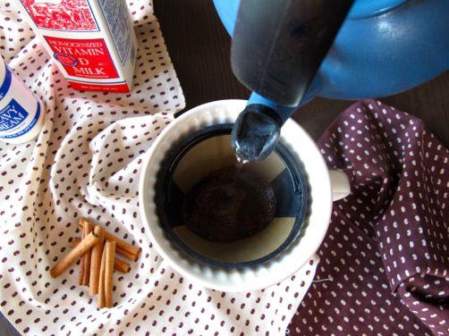 Brewing coffee for Cinnamon Coffee Ice Cream