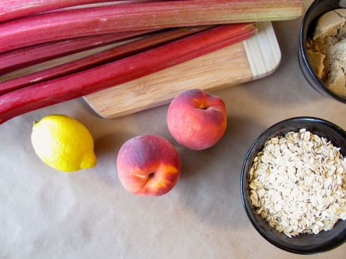 Ingredients for Peach Rhubarb Oatmeal Bars