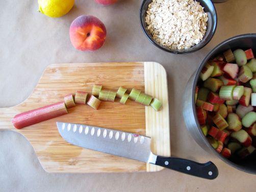 Making Peach Rhubarb Oatmeal Bars