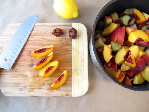 Making Peach Rhubarb Oatmeal Bars