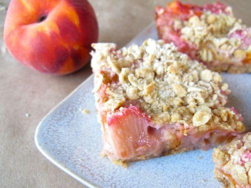 Peach Rhubarb Oatmeal Bars