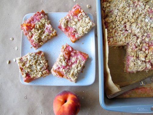 Peach Rhubarb Oatmeal Bars