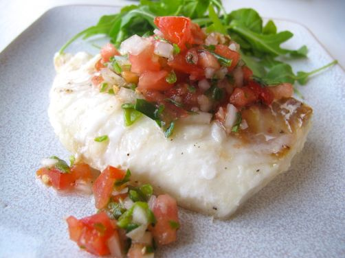 Roasted Cod or Halibut with Blistered Shishito Salsa