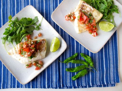 Roasted Cod with Blistered Shishito Salsa