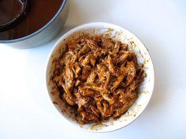 Making Chicken Mole Enchiladas