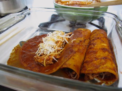 Making Mole Enchiladas