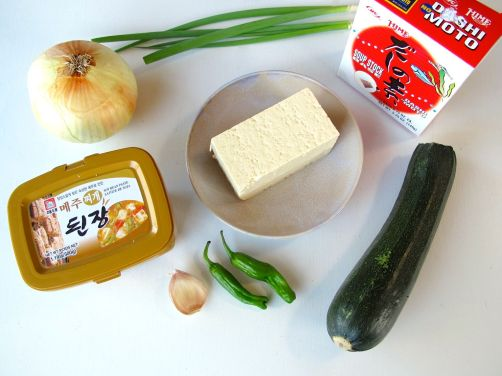 Ingredients for Doenjang Jjigae (Korean Savory Stew with zucchini, tofu, and shrimp)