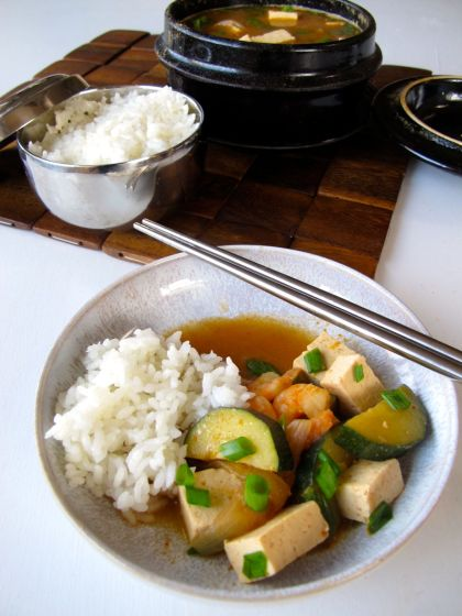 Doenjang Jjigae (Korean Savory stew with zucchini, tofu, and shrimp)