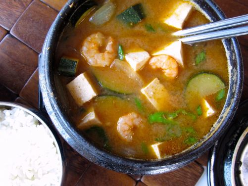 Doenjang Jjigae (savory Korean stew with zucchini, tofu, and shrimp)