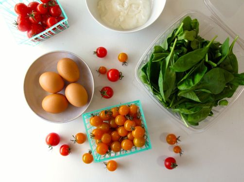 Ingredients for Skillet-Baked Eggs with Garlicky Yogurt, Spinach, and Cherry Tomatoes