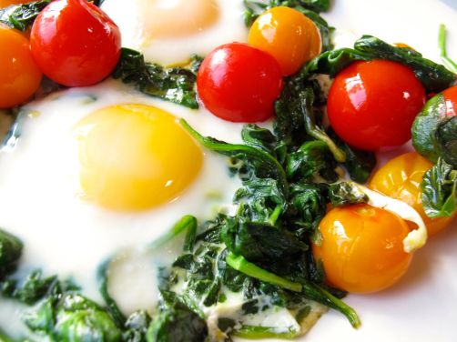 Skillet-Baked Eggs with Garlicky Yogurt and Cherry Tomatoes