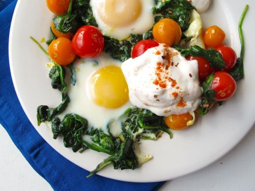Skillet-Baked Eggs with Garlicky Yogurt