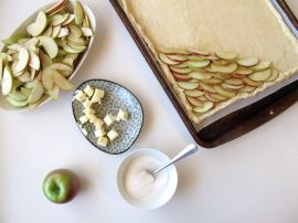 Making French Apple Tart with Brown Sugar Cinnamon Glaze