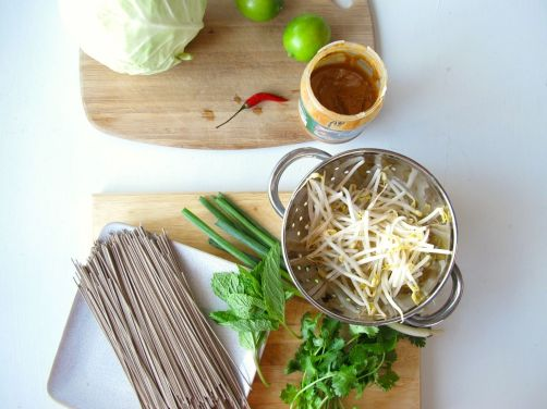 Ingredients for Vietnamese Style Soba (Bun Chay) with Baked Peanut Tofu