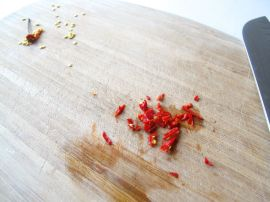 Dicing chili pepper for Nuoc Cham sauce