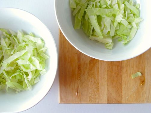 Chopped Cabbage for Vietnamese Style Soba (Bun Chay) with Baked Peanut Tofu